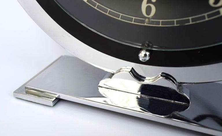 Art Deco Temco Chrome Electric Mantel Clock, 1930s For Sale 1