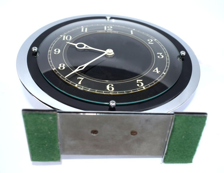 Art Deco Temco Chrome Electric Mantel Clock, 1930s For Sale 2
