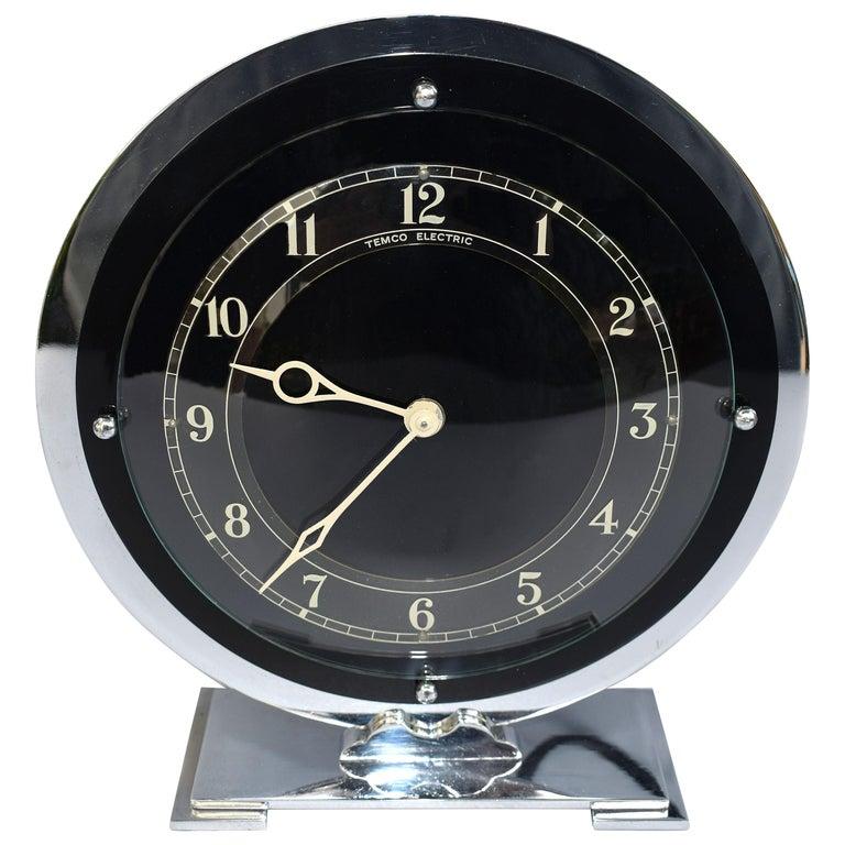Art Deco Temco Chrome Electric Mantel Clock, 1930s For Sale