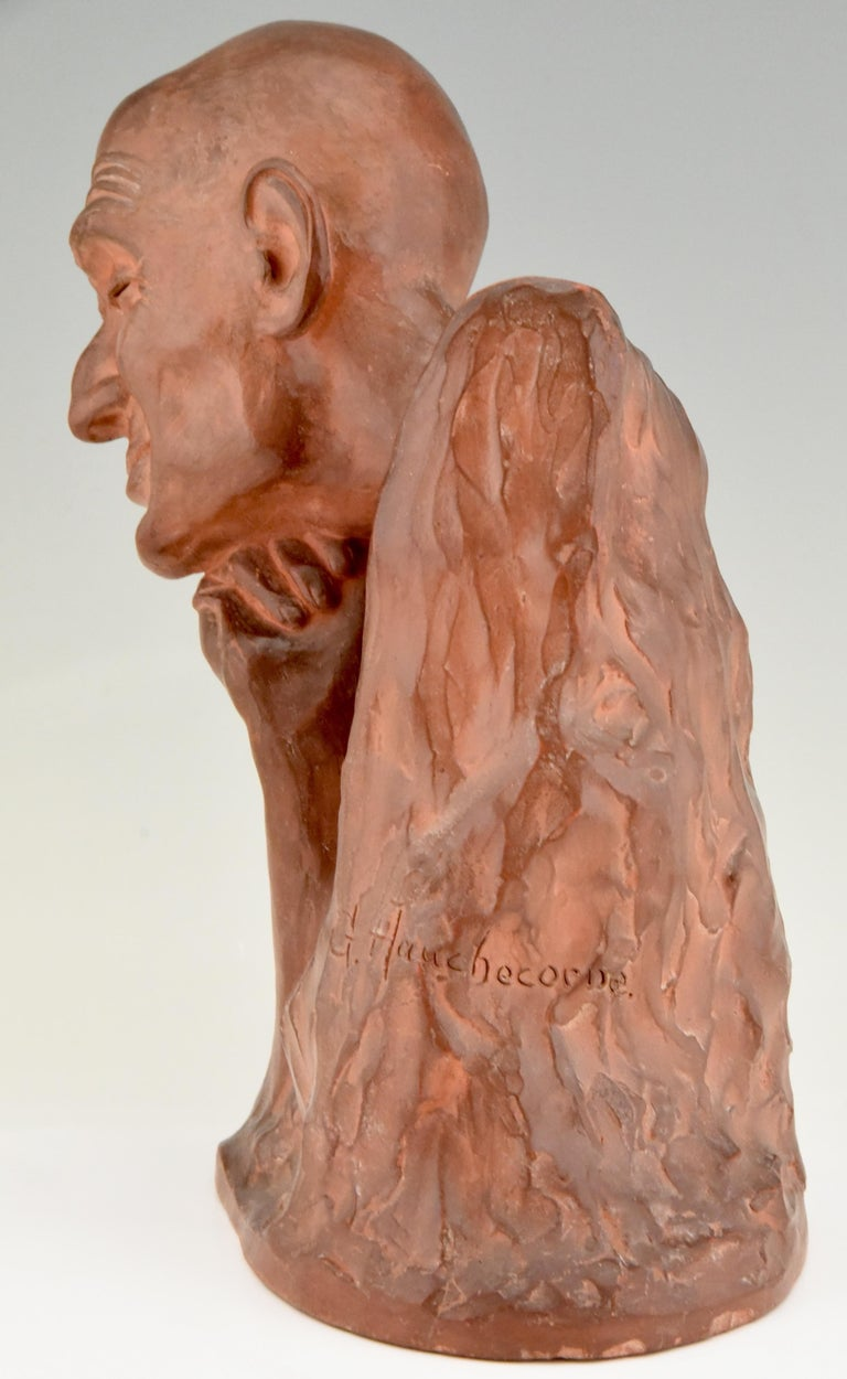 Art Deco Terracotta Sculpture Bust of a Man Gaston Hauchecorne, France, 1925 In Good Condition For Sale In Antwerp, BE