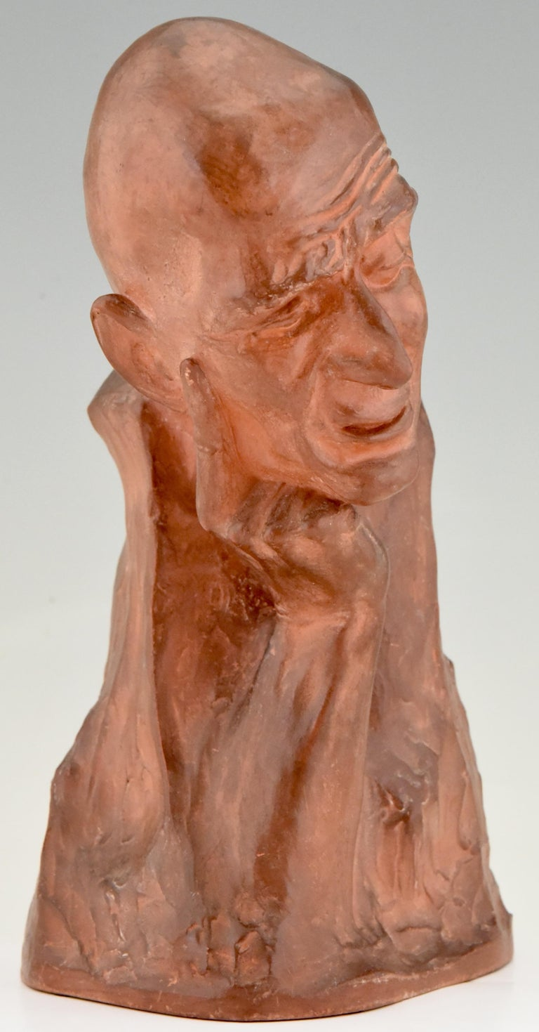 Art Deco Terracotta Sculpture Bust of a Man Gaston Hauchecorne, France, 1925 For Sale 2