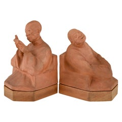 Art Deco Terracotta Bookends with Chinese Men Gaston Hauchecorne, France, 1925