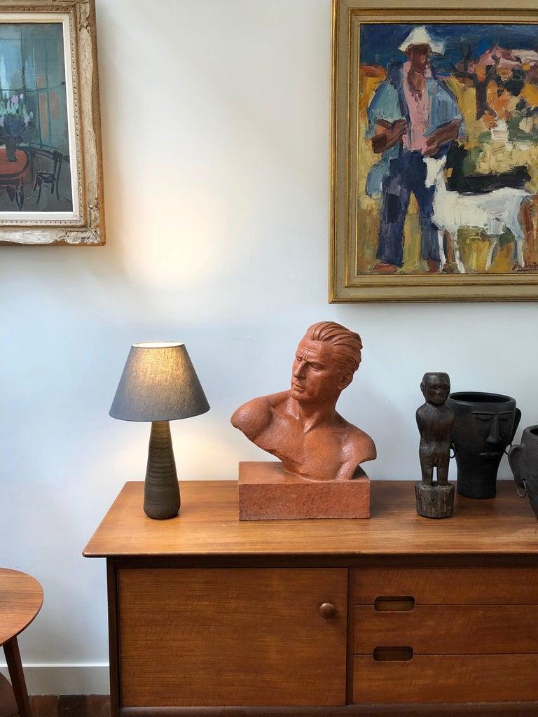 French Art Deco Terracotta Sculpture Bust of Man by Demétre H. Chiparus, circa 1930s For Sale
