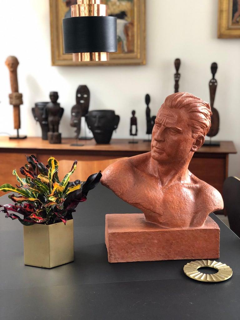 Art Deco Terracotta Sculpture Bust of Man by Demétre H. Chiparus, circa 1930s For Sale 1