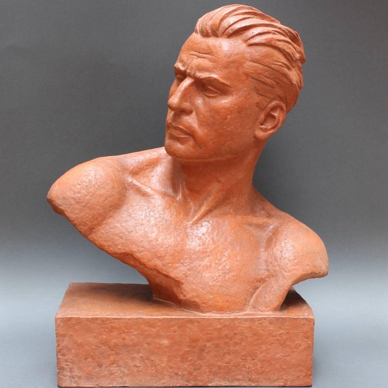 Art Deco Terracotta Sculpture Bust of Man by Demétre H. Chiparus, circa 1930s In Good Condition For Sale In London, GB
