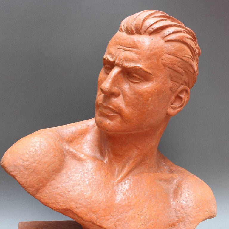 Mid-20th Century Art Deco Terracotta Sculpture Bust of Man by Demétre H. Chiparus, circa 1930s For Sale