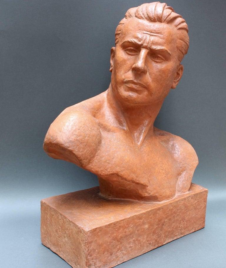 Art Deco Terracotta Sculpture Bust of Man by Demétre H. Chiparus, circa 1930s For Sale 2