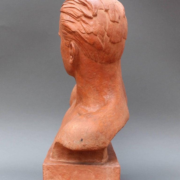 Art Deco Terracotta Sculpture Bust of Man by Demétre H. Chiparus, circa 1930s For Sale 4
