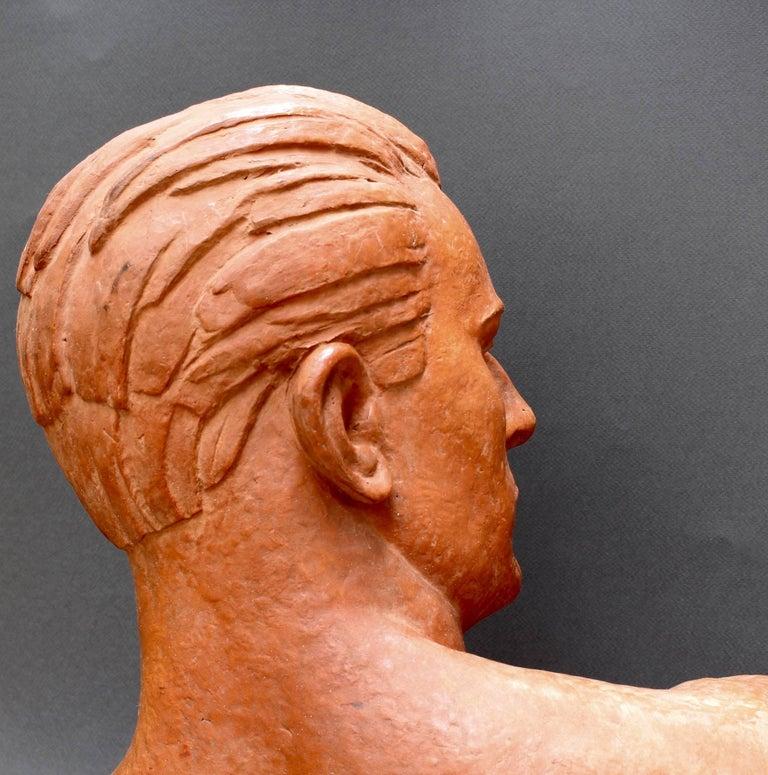 Art Deco Terracotta Sculpture Bust of Man by Demétre H. Chiparus, circa 1930s For Sale 5