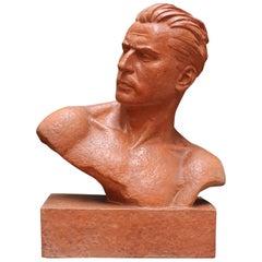 Art Deco Terracotta Sculpture Bust of Man by Demétre H. Chiparus, circa 1930s