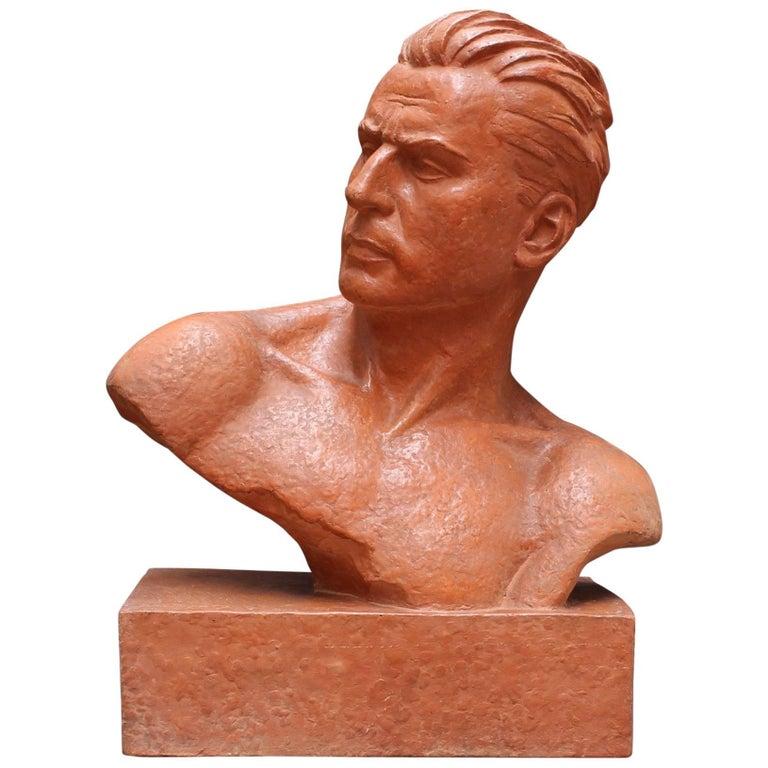 Art Deco Terracotta Sculpture Bust of Man by Demétre H. Chiparus, circa 1930s For Sale