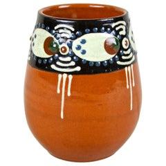 Art Deco Terracotta Vase with Enamel Paintings, Austria, circa 1920