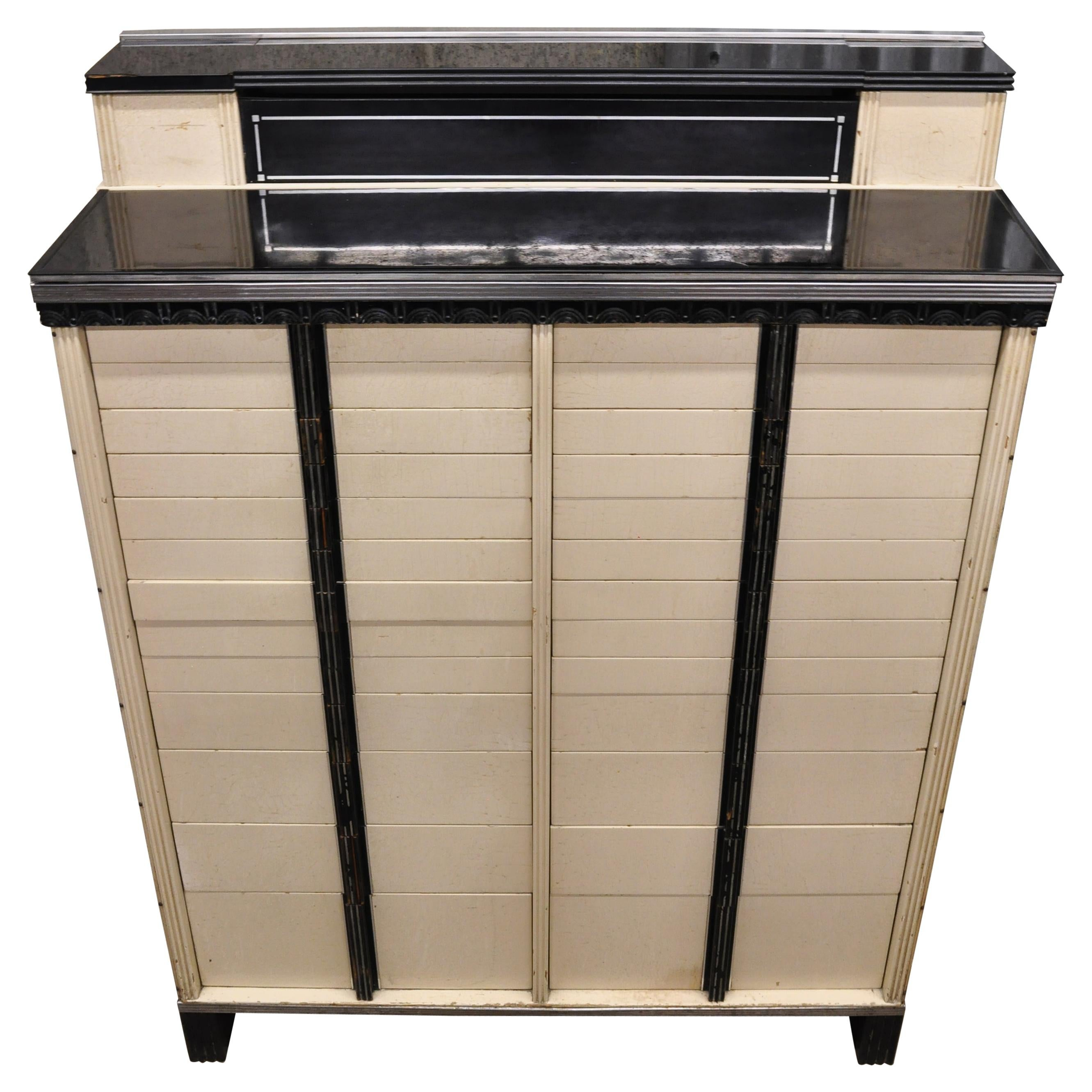 Art Deco the American Cabinet Co. Dental Medical Cabinet with Milk Glass Trays