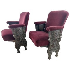 Art Deco Theatre Seats Cast Iron 1927 Two Pair Available