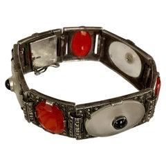 Art Deco Theodor Fahrner Rock Crystal, Black Onyx, Carnelian Marcasite Bracelet