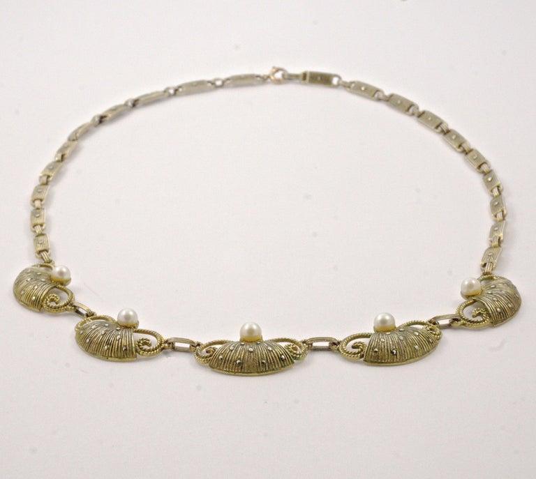 Art Deco Theodor Fahrner Sterling Silver Gilt Marcasite Cultured Pearl Necklace For Sale 5