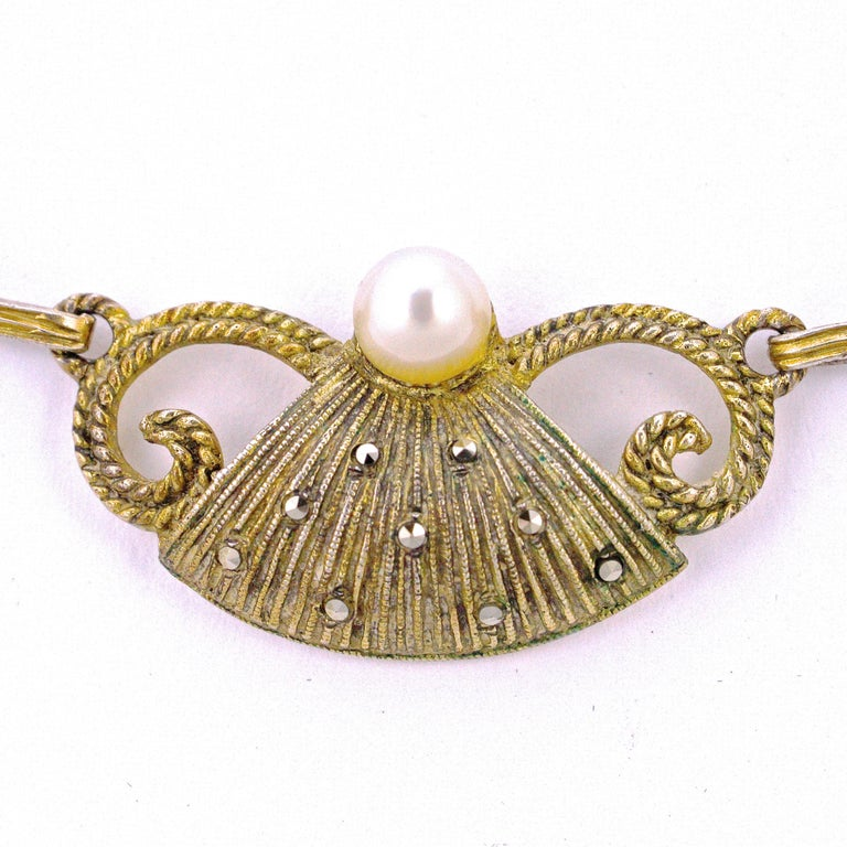 Round Cut Art Deco Theodor Fahrner Sterling Silver Gilt Marcasite Cultured Pearl Necklace For Sale