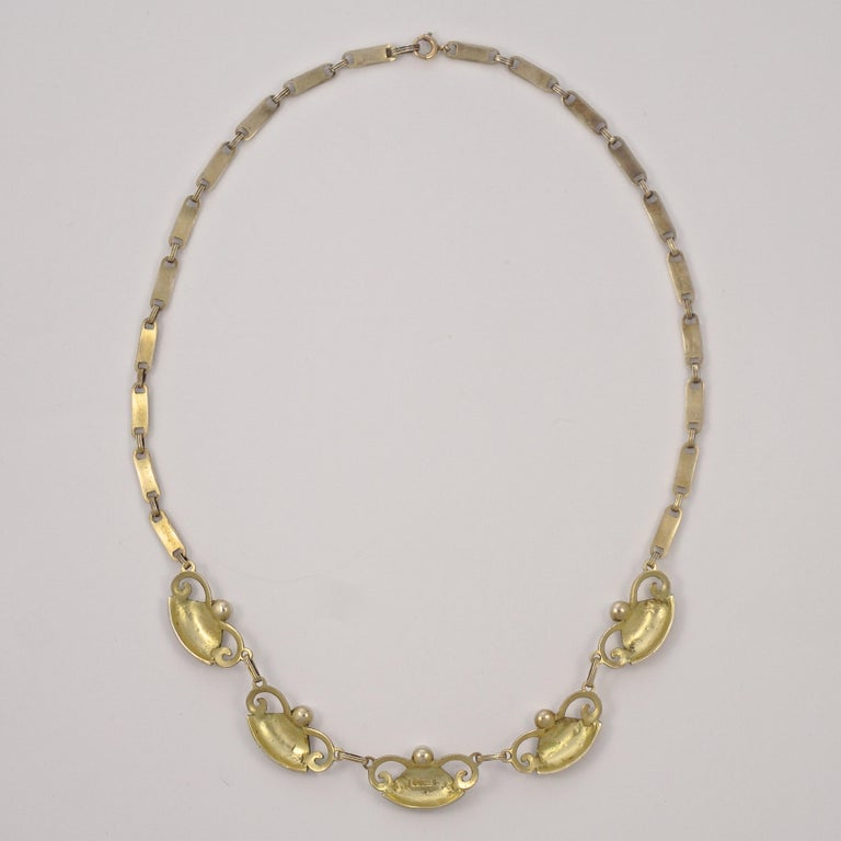 Art Deco Theodor Fahrner Sterling Silver Gilt Marcasite Cultured Pearl Necklace In Good Condition For Sale In London, GB