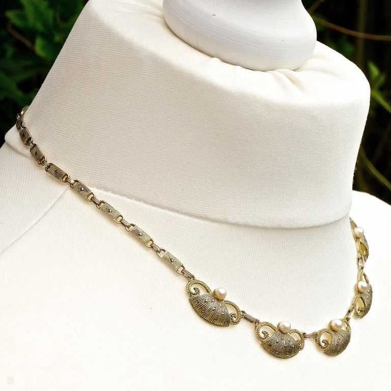 Art Deco Theodor Fahrner Sterling Silver Gilt Marcasite Cultured Pearl Necklace For Sale 2