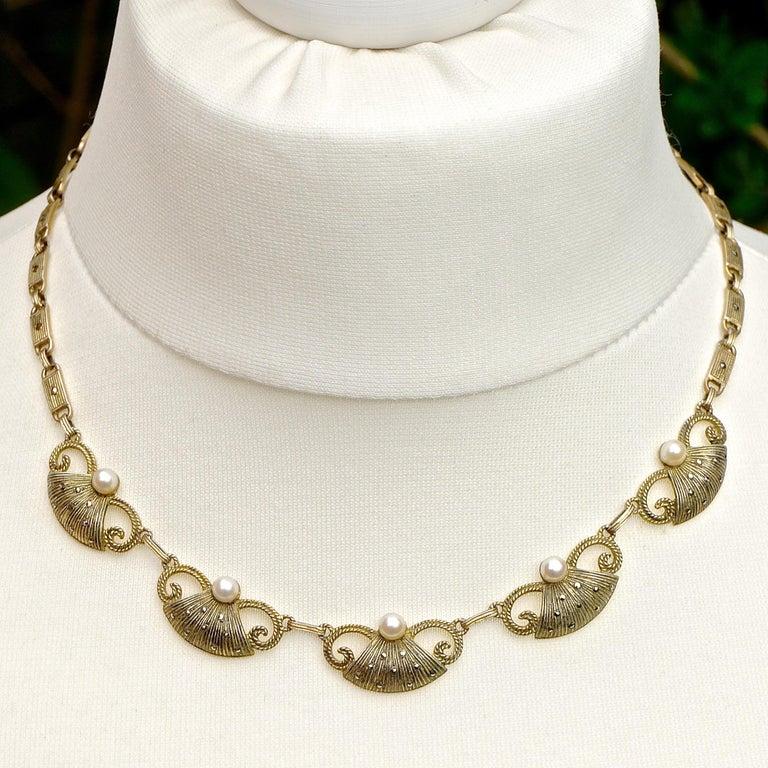 Art Deco Theodor Fahrner Sterling Silver Gilt Marcasite Cultured Pearl Necklace For Sale 3