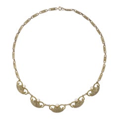 Art Deco Theodor Fahrner Sterling Silver Gilt Marcasite Cultured Pearl Necklace