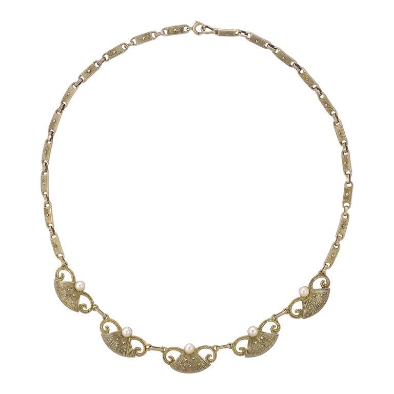 Art Deco Theodor Fahrner Sterling Silver Gilt Marcasite Cultured Pearl Necklace For Sale