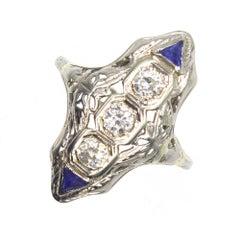 Art Deco Three-Diamond Sapphire Accent Cocktail Ring