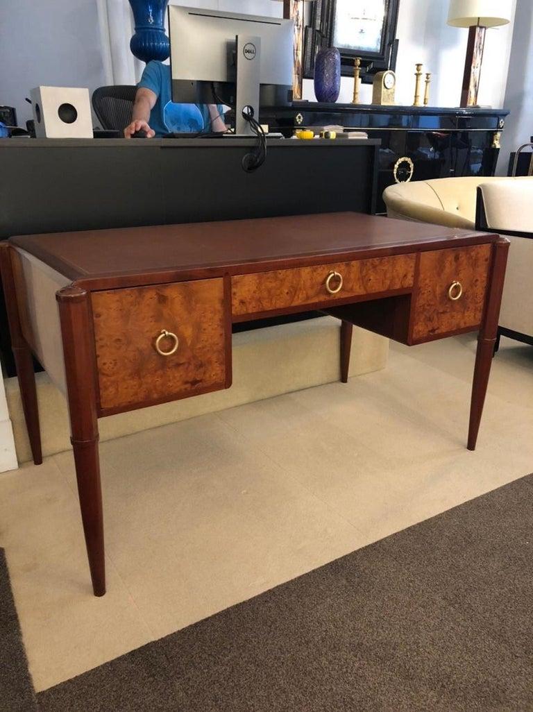 Birch Art Deco Three-Drawer Desk For Sale