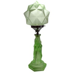 Art Deco Three Graces Uranium Glass Table Lamp