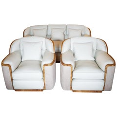 Art Deco Three-Piece Bankers Suite by Harry & Lou Epstein English, circa 1930