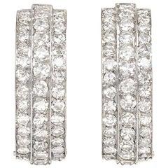 Art Deco Three-Row Diamond Hoop Earrings in Platinum