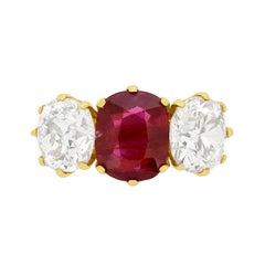 Art Deco Three-Stone 2.03 Carat Ruby and Diamond Ring, circa 1930s