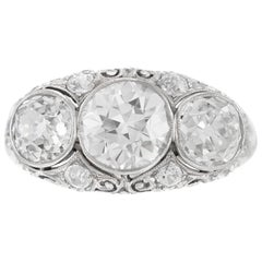 Art Deco Three Stone 3.30 Carat Diamond Engagement Ring