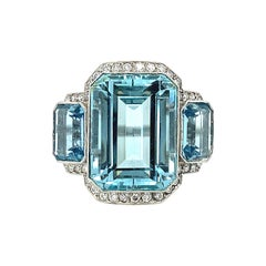 Art Deco Style Three Stone Aquamarine and Diamond Ring