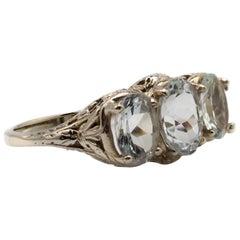 Art Deco Aquamarine Ring 14 Karat White Gold Filigree Setting
