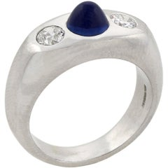 Art Deco Three-Stone Diamond and Bullet Cabochon Sapphire Ring
