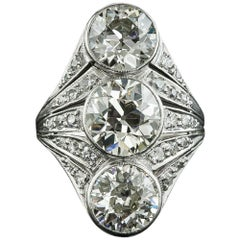 Art Deco Three-Stone Diamond Dinner Ring