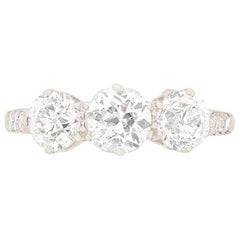 Art Deco Three-Stone Diamond Engagement Ring, circa 1920s