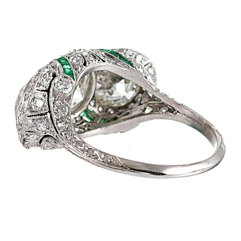 Art Deco Three-Stone Diamond Ring with Emeralds In Excellent Condition For Sale In Carmel-by-the-Sea, CA