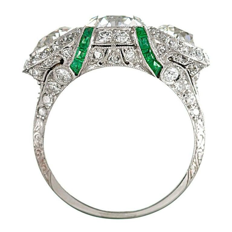 Women's Art Deco Three-Stone Diamond Ring with Emeralds For Sale