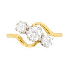 Art Deco Three-Stone Diamond Twist Engagement Ring, circa 1920s