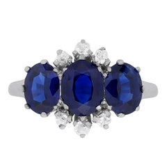 Art Deco Three-Stone Sapphire and Diamond Ring, circa 1920s