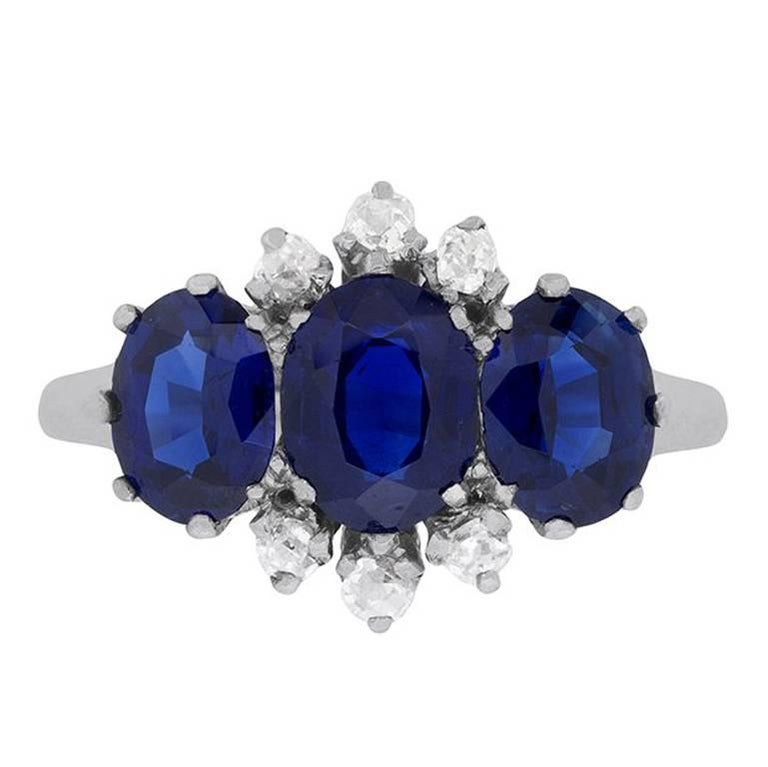 Art Deco Three-Stone Sapphire and Diamond Ring, circa 1920s