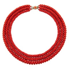 Red Coral Woven Beaded Necklace