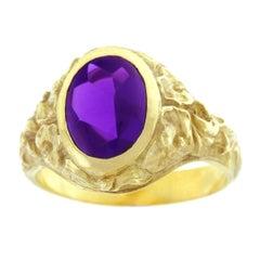 Art Deco Tiffany Amethyst Set Gold Ring