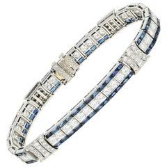 Art Deco Tiffany and Co. Platinum Natural Sapphire and Diamond Bracelet GIA Cert