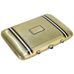 Art Deco Tiffany & Co 14 Karat Gold Sapphire and Enamel Compact, Cigarette Case