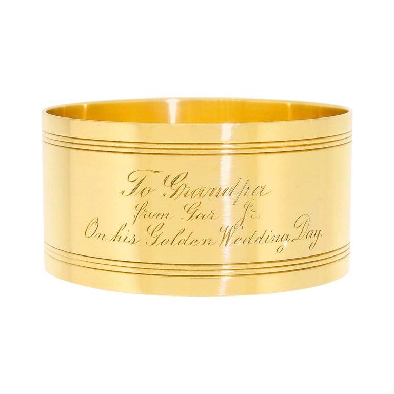 Art Deco Tiffany & Co. 18 Karat Solid Gold Engraved Napkin Ring 47.60 Grams 1920 For Sale