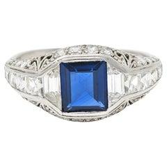 Art Deco Tiffany & Co. Sapphire Diamond Platinum Dinner Ring