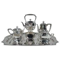 Art Deco Tiffany Hampton Sterling Silver Coffee and Tea Set on Tray